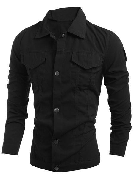 Casual Turn-Down Collar Slimming Flap Pockets Long Sleeve Men's Jacket - BLACK M