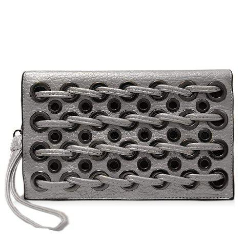 Trendy PU Leather and String Design Women's Clutch Bag - SILVER