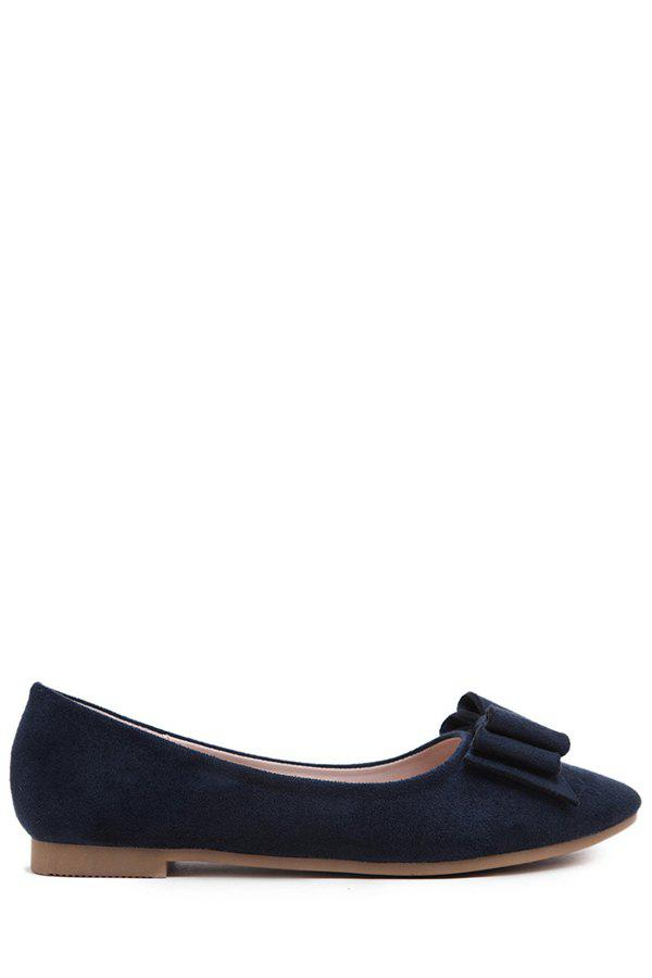 Elegant Bow and Flock Design Flat Shoes For Women - SAPPHIRE BLUE 39