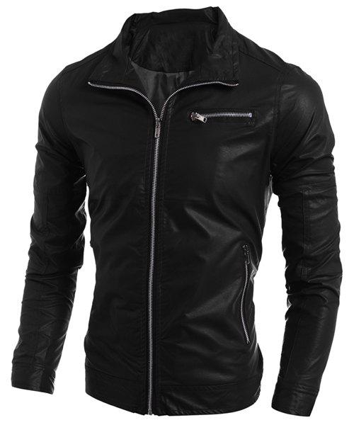 Simple Turn-Down Collar Multi-Pocket Long Sleeve Men's PU-Leather Coat - BLACK L