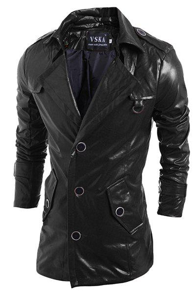 Turn-Down Collar Solid Color Long Sleeve PU-Leather Men's Jacket