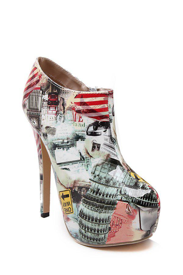 Trendy Print and Platform Design High Heel Boots For Women - NUDE 37