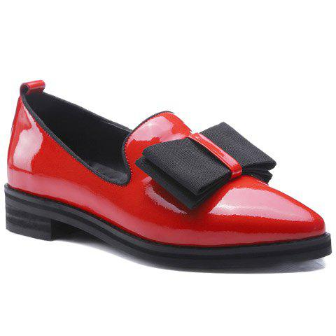 Sweet Bowknot and Patent Leather Design Flat Shoes For Women -  RED