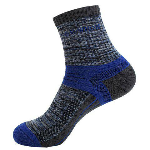 Pair of Hot Sale Letter and Stripe Pattern Athletic Socks For Men - BLUE