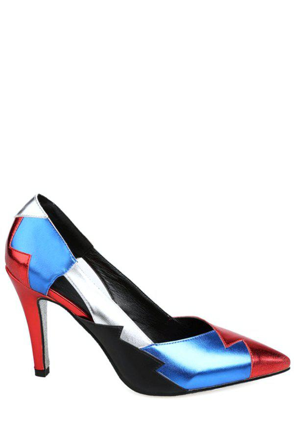 Trendy Color Block and Pointed Toe Design Pumps For Women - RED 38