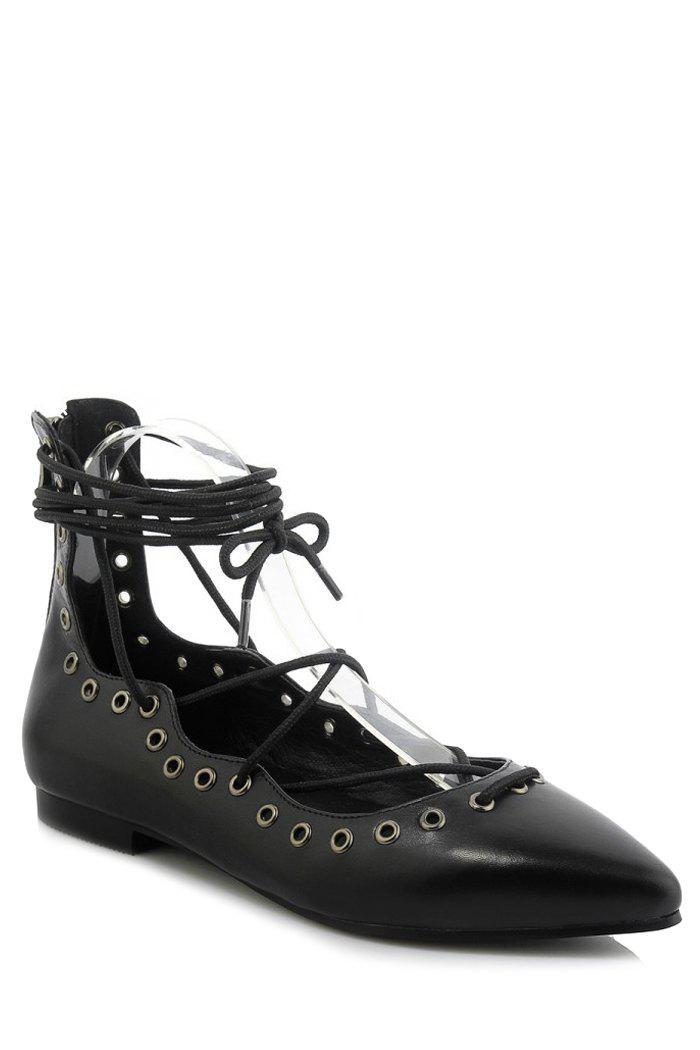 Stylish Cross-Strap and Pointed Toe Design Flat Shoes For Women - BLACK 39