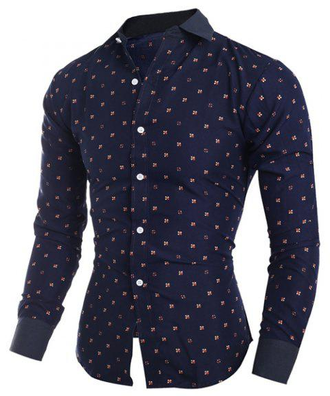 Turn-Down Collar Tiny Floral Print Long Sleeve Men's Shirt - CADETBLUE L