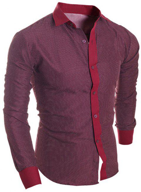 Splicing Design Polka Dot Turn-Down Collar Long Sleeve Men's Shirt - WINE RED XL