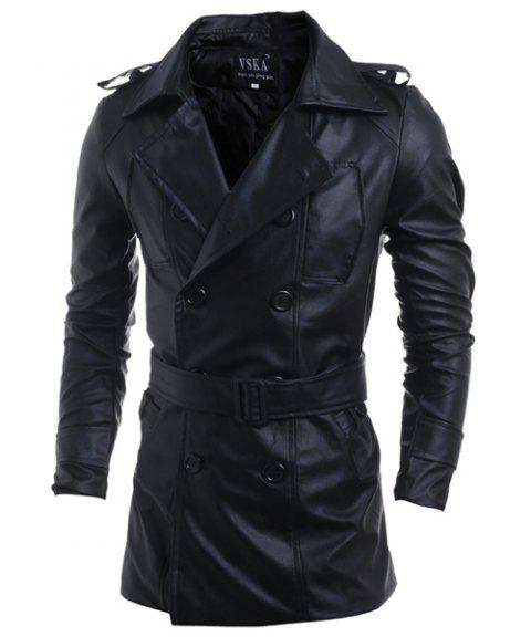 Turn-Down Collar Double-Breasted Belt PU-Leather Long Sleeve Men's Jacket - BLACK 2XL