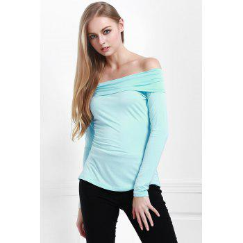 Stylish Slash Neck Long Sleeve Cassiopia Women's Tee - BLUE BLUE