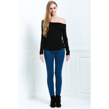 Stylish Slash Neck Long Sleeve Cassiopia Women's Tee - L L