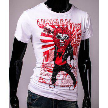 Cool 3D Orc and Letters Print Slimming Round Neck Short Sleeves Men's T-Shirt - WHITE L