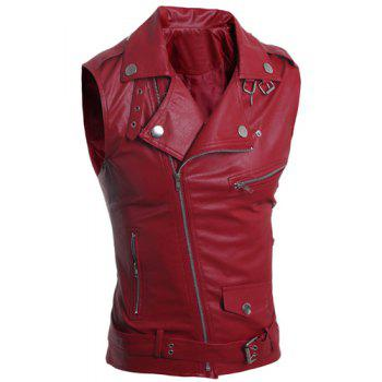 Turn-Down Collar Zipper Design Sleeveless PU-Leather Men's Waistcoat