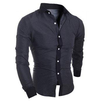 Splicing Design Polka Dot Turn-Down Collar Long Sleeve Men's Shirt