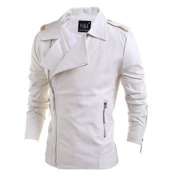 Turn-Down Collar Zipper PU-Leather Long Sleeve Men's Jacket