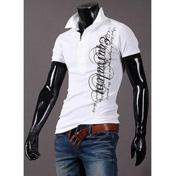 Casual Slim Fit Turn Down Collar Letter Printed Short T-Shirt For Men - WHITE M