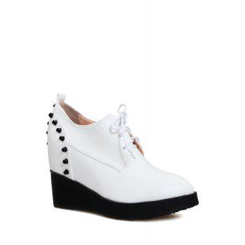 Stylish Rivet and Lace-Up Design Wedge Shoes For Women