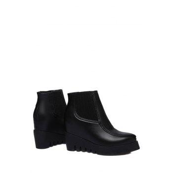 Trendy Elastic and Hidden Wedge Design Ankle Boots For Women - BLACK 38