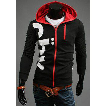 Casual Slim Fit Printed Zipper Decorated Hoodie For Men