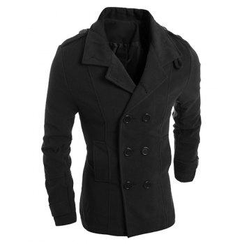 Turn-Down Collar Epaulet Design Solid Color Long Sleeve Men's Woolen Blend Coat