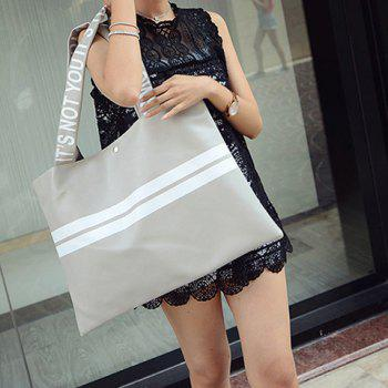 Fashion Stripe and PU Leather Design Shoulder Bag For Women - LIGHT GRAY