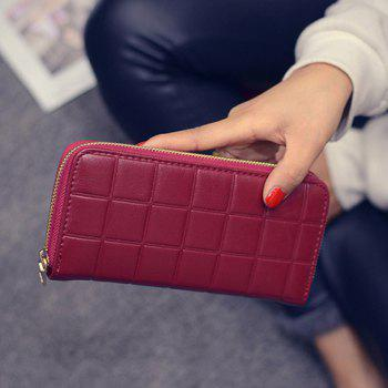 Plaid Embossed Zip Wallet - RED