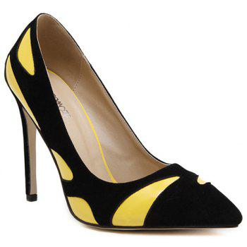 Trendy Color Block and PU Leather Design Pumps For Women