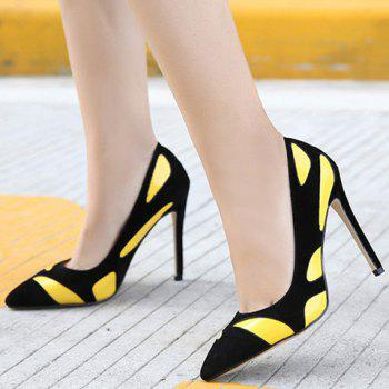 Trendy Color Block and PU Leather Design Pumps For Women - 39 39