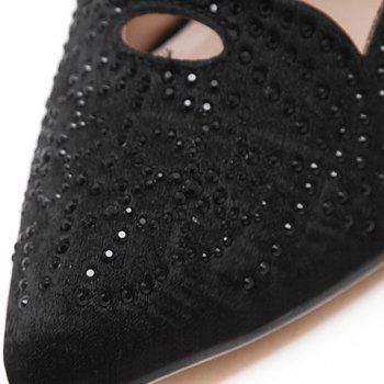 Fashion Hollow Out and Rhinestones Design Pumps For Women - BLACK 39