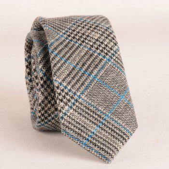 Stylish Plaid and Houndstooth Pattern Blue Match Faux Wool Men's Tie