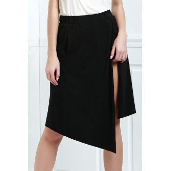 Asymmetric High Waisted A Line Skirt - BLACK L