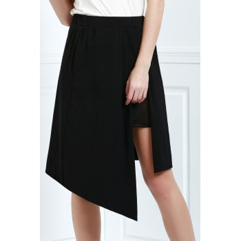 Asymmetric High Waisted A Line Skirt - L L
