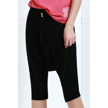 Drawstring Cropped Baggy Pants - XL XL
