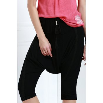 Drawstring Cropped Baggy Pants - BLACK S