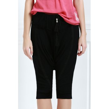 Drawstring Cropped Baggy Pants - S S