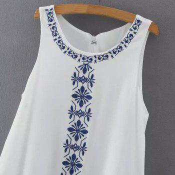 Ethnic Style Jewel Neck Sleeveless Embroidered Women's Dress - L L