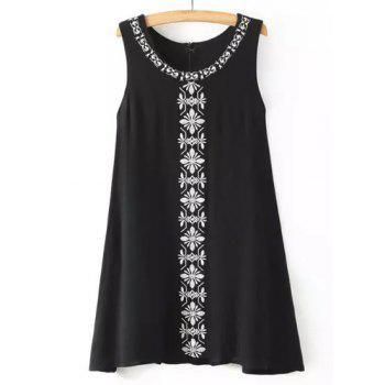 Ethnic Style Jewel Neck Sleeveless Embroidered Women's Dress - BLACK BLACK