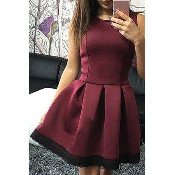 Fashionable Jewel Neck Sleeveless Lace Hem Pleated Dress For Women - WINE RED S