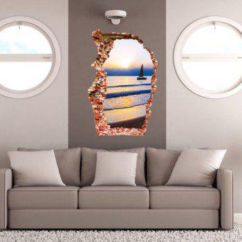 Stylish Sunset and Sea Design Wall Sticker - COLORMIX
