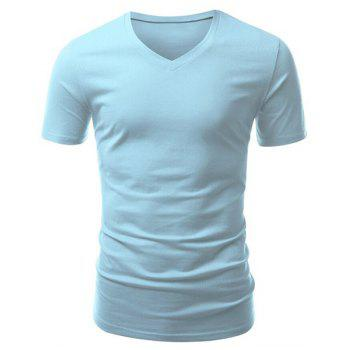 Casual Slimming V-Neck Short Solid Color T-Shirt For Men