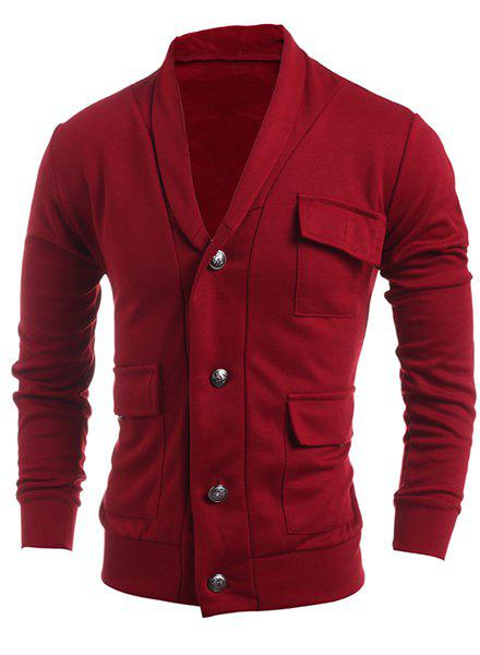 Turn-Down Collar Single Breasted Pockets Embellished Long Sleeve Men's Jacket - RED 2XL