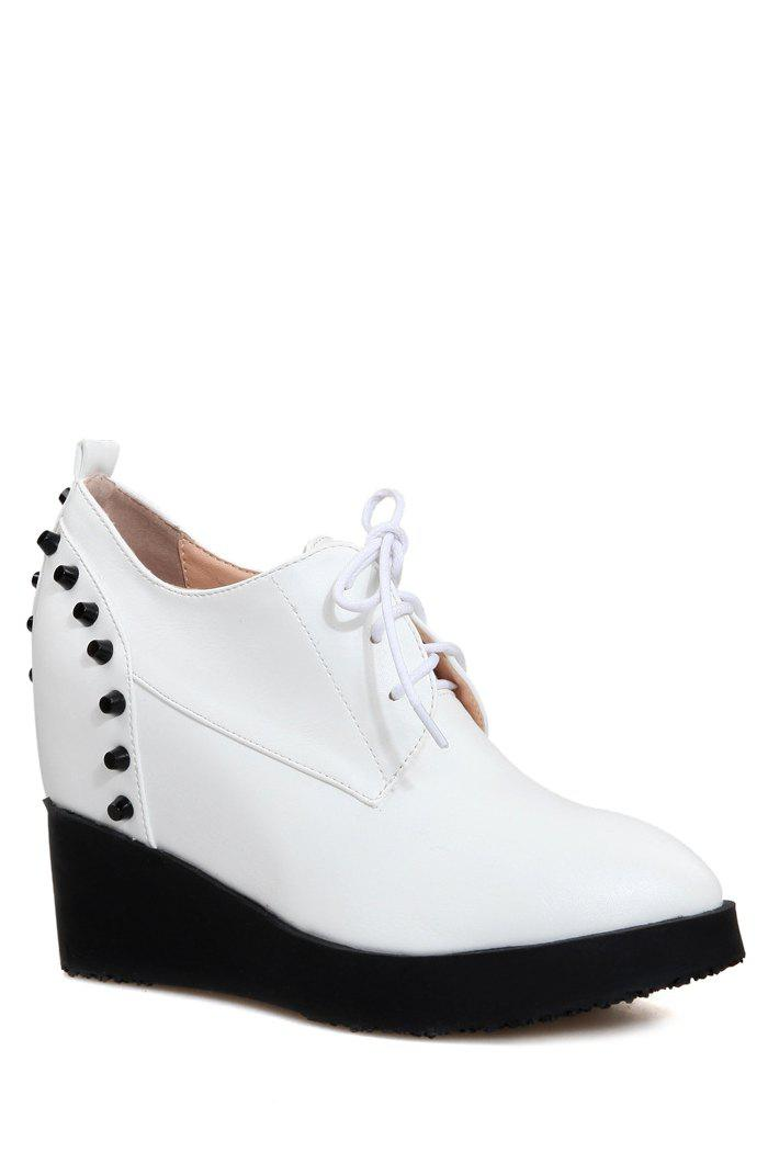 Stylish Rivet and Lace-Up Design Wedge Shoes For Women - WHITE 36