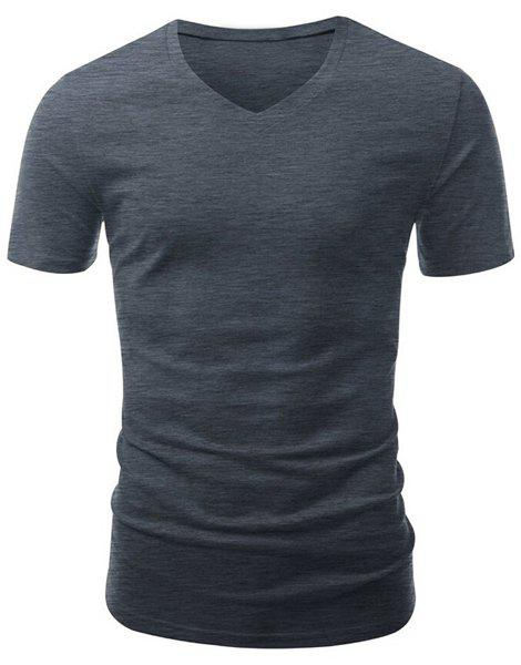 Casual Slimming V-Neck Short Solid Color T-Shirt For Men - GRAY XL