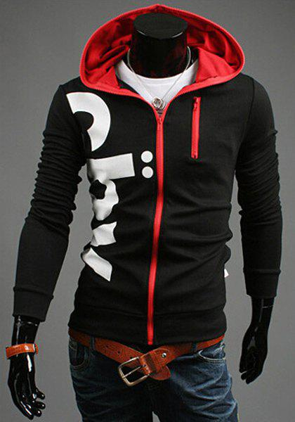 Casual Slim Fit Printed Zipper Decorated Hoodie For Men - BLACK 2XL