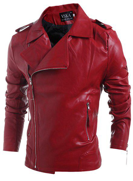 Turn-Down Collar Zipper PU-Leather Long Sleeve Men's Jacket - RED 2XL