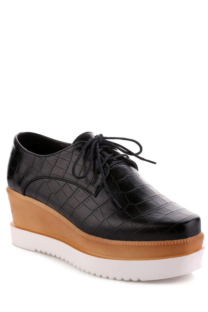 Trendy Stone Pattern and Lace-Up Design Platform Shoes For Women - BLACK 37