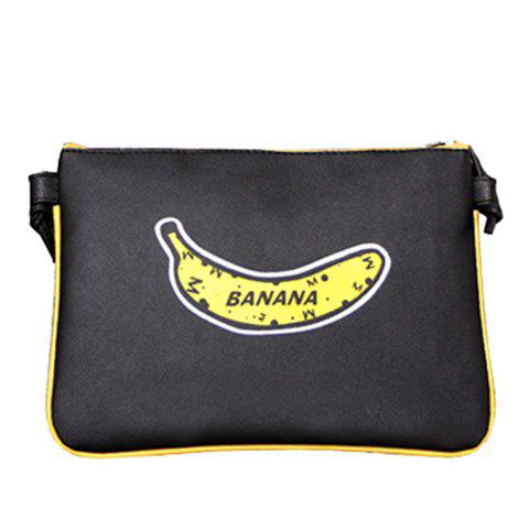 Stylish PU Leather and Banana Print Design Women's Crossbody Bag - BLACK