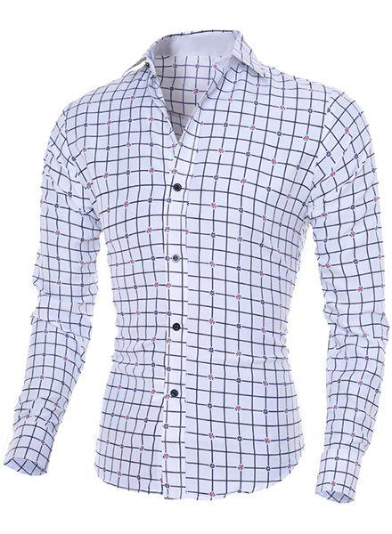 Stylish Flower Print and Checked Turn-Down Collar Long Sleeve Men's Shirt - WHITE M