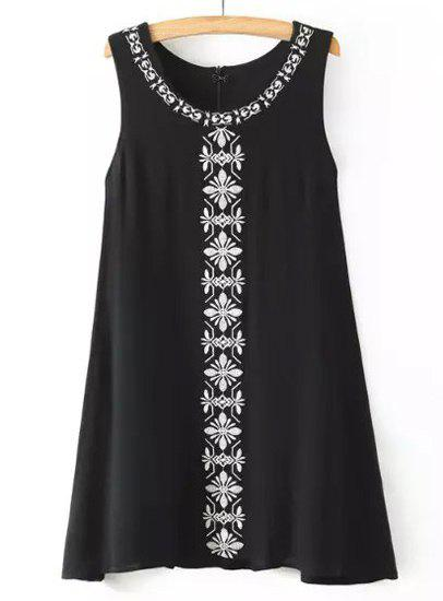 Ethnic Style Jewel Neck Sleeveless Embroidered Women's Dress - BLACK M