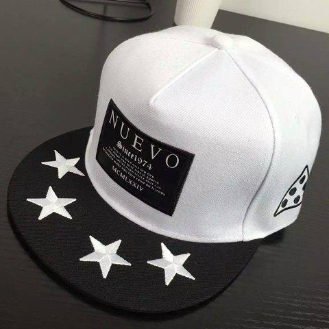 Stylish Letters Label and Stars Embroidery Brim Design Men's Baseball Cap - WHITE